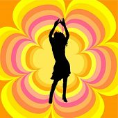 Dancing female on retro background - vector image