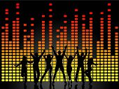 People dancing on graphic equaliser background