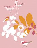 Vector Retro Floral with Children's Graphics
