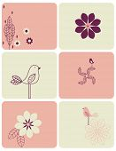 Vector Bird and Flower (Graphic set)