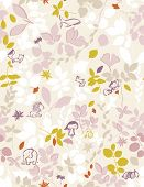 Vector seamless pattern displaying whimsical floral featuring baby animals.
