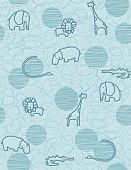 image of alligator baby  - Vector seamless pattern showcasing cute little baby safari animals - JPG