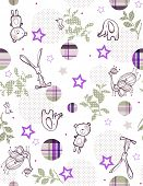 Vector Baby Retro Floral (Seamless Pattern)
