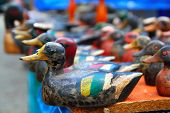 Duck decoy arrangement row colorful hand painted for hunters