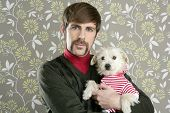 geek retro man holding dog silly couple on wallpaper