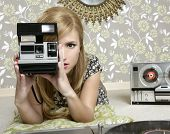 camera retro photo woman in vintage room wallpaper