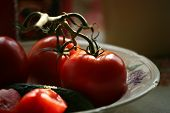 picture of risque  - Tomatoes and cucumbers on a plate covered by the sun - JPG