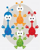 stock photo of googly-eyes  - Collection of bright and colorful spotty aliens - JPG