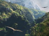 stock photo of pteranodon  - Pteranodon flying through the canyon - JPG