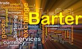 stock photo of bartering  - Background concept wordcloud illustration of barter glowing light - JPG