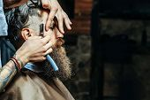 Bearded Man With Long Beard Getting Hair Shaving With Razor poster