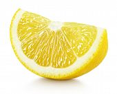 Wedge Of Yellow Lemon Citrus Fruit Isolated On White poster