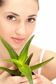 Woman's Face With Aloe