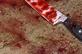 picture of crime scene  - Knife lies on the street after a violent attack - JPG