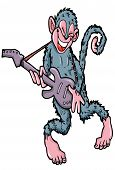 Cartoon Monkey Playing Guitar