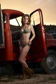 Lingerie Model At Vintage Truck