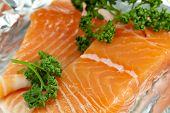 Raw salmon in foil