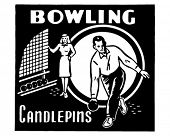 Bowling Candlepins - Retro Ad Art Banner
