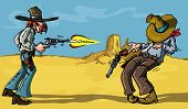 pic of tragic  - Cartoon cowboy shootout with tragic result in the desert - JPG