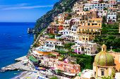 Beautiful colorful Positano town - scenic Amalfi coast of Italy poster