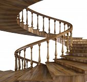 stock photo of spiral staircase  - spiral wooden staircase with natural pattern - JPG