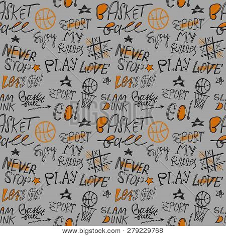 Sketch Handwritten Basketball Seamless Pattern