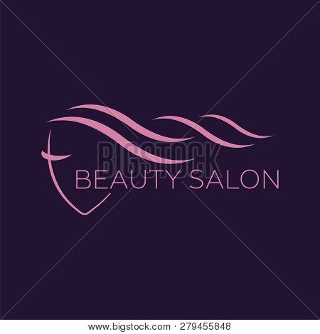 poster of Beautiful Woman Logo Template For Hair Salon, Beauty Salon, Cosmetic. Background Hair Salon