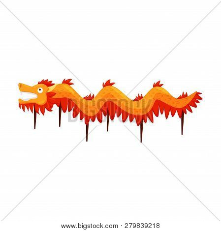 poster of Traditional Red-orange Dragon Dance Costume. Symbolic Creature In Folklore And Mythology Of Vietnam.