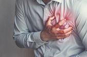 People Chest Pain From Heart Attack. Healthcare Concept poster