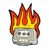 burning cassette tape cartoon