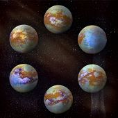 Saturns Moon Titan, Set Of Six Different Angles In The Circle At The Galaxy Stars Background. poster