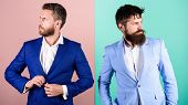 Businessman Stylish Appearance Jacket Pink Blue Background. Business People Fashion And Formal Style poster