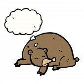 hibernating bear with thought bubble