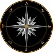 picture of compass rose  - Compass rose illustration with marks on each of the 360 degrees - JPG