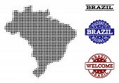 Welcome Combination Of Halftone Map Of Brazil And Grunge Watermarks. Halftone Map Of Brazil Construc poster