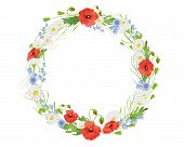 image of harebell  - an illustration of a circular wreath of summer wildflowers with poppies harebells and daisies on white - JPG
