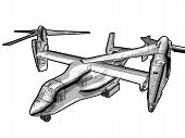 A Technical Illustration Of A V-22 Helicopter.