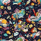 Cosmos Vector Background. Cartoon Seamless Background. Seamless Pattern With Cartoon Space Rockets,  poster