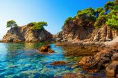 Mediterranean Rocky Coast With Turquoise Water In Lloret De Mar, Spain. Costa Brava Seascape On Sunn poster