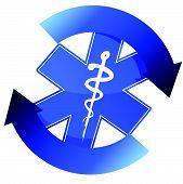 24/7 blue medical symbol cycle illustration design