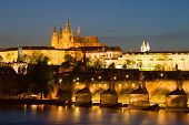 Evening Prague. View Of St. Vitus Cathedral On April Evening poster