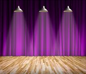 Lamp with lighting on stage. Lamp with purple curtain and wooden floor interior background. Interior poster