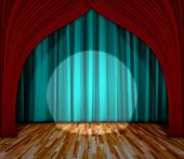 Background. Lighting On Stage. Curtain And Wooden Floor Interior Background. Interior Template For P poster