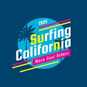 Surfing California - Concept Logo Badge Vector Illustration For T-shirt, Print, Poster, Brochure. Su poster