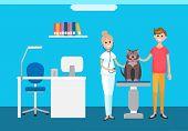 Veterinarian Veterinary Check Up At Pets Clinic Vector. Interior Of Domestic Animals Treatment Hospi poster