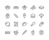 Simple Set Of Fast Food Related Vector Line Icons. Contains Such Icons As Pizza, Tacos, Chips And Mo poster