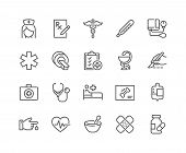 Simple Set Of Medical Related Vector Line Icons. Contains Such Icons As Mri, Prescription, Surgery A poster