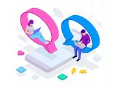 Isometric Concept Of Social Media Network, Digital Communication, Chatting. Online Chat Man And Woma poster
