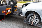 Tow Truck Towing Broken Down Car From Accident On Road poster