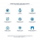 Protection And Security Creative Symbols Set, Font Concept. Home, People Secure Abstract Business Lo poster
